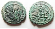 Ancient Coins - BYZANTINE. AS FOUND. JUSTIN II & SOPHIA AE FOLLIS