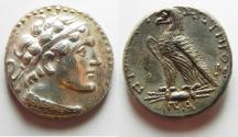 Ancient Coins -  Egypt. Ptolemaic kings. Ptolemy V Epiphanes (204-180 BC). AR tetradrachm (25mm, 14.21g) Uncertain Cypriote or Phoenician mint. Struck in era year 81 (182/1 BC).