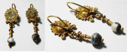 ANCIENT ROMAN GOLD PAIR OF EARRINGS WITH GLASS BEADS. 100 - 200 A.D
