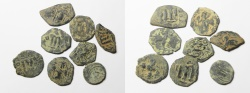 Ancient Coins - LOT OF 8 ARAB-BYZANTINE AE FALS. IMITATIONS OF CONSTANS II FOLLIS COINS
