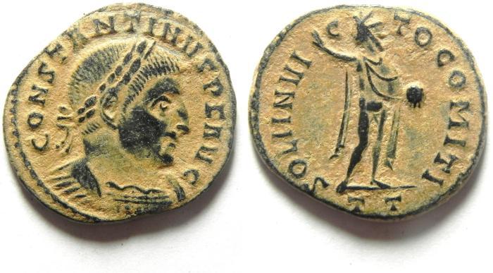 Ancient Coins - CHOICE CONSTANTINE I AE FOLLIS , BEAUTIFULL DESERT PATINA