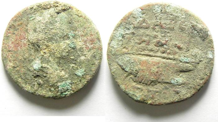 Ancient Coins - DECAPOLIS , GADARA , GORDIAN WITH GALLEY TYPE , AE 26 ,  THE QUALITY IS VERY NICE!!