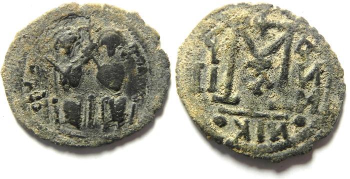 World Coins - Arab-Byzantine.  AE fals. 28mm, 4.88g. Beisan (Nysa-Scythopolis) mint imitating types of Justin II at Nicomedia, AD 566-578.