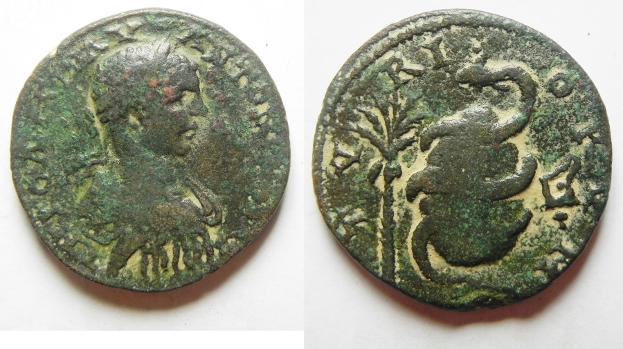 Ancient Coins - PHOENICIA, Tyre. Elagabalus. AD 218-222. Æ 27mm , Very rare! Stunning & very attractive coin