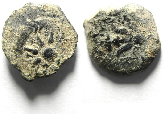 Ancient Coins - JUDAEA , NICE WIDOW'S MITE PRUTAH AS FOUND