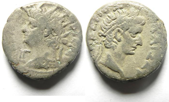 Ancient Coins - ALEXANDRIA , EGYPT, TETRADRACHM OF NERO , TIBERIUS BUST