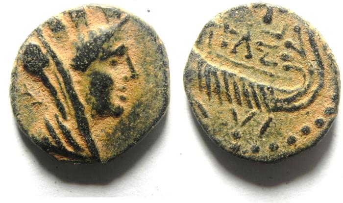 Ancient Coins - PHOENICIA , SIDON , 2ND CENT. A.D, AE 18 , BEAUTIFULL PATINA