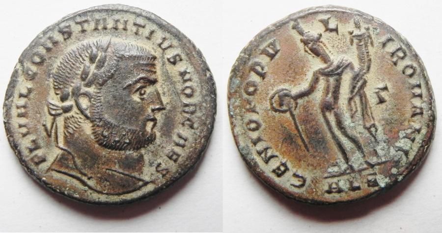 Ancient Coins - Constantius I. As Caesar Æ Follis. Alexandria