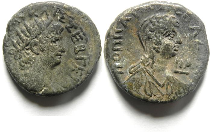 Ancient Coins -  ROMAN EGYPT, Alexandria. Nero, with Poppaea , high quality coin , billon Tetradrachm