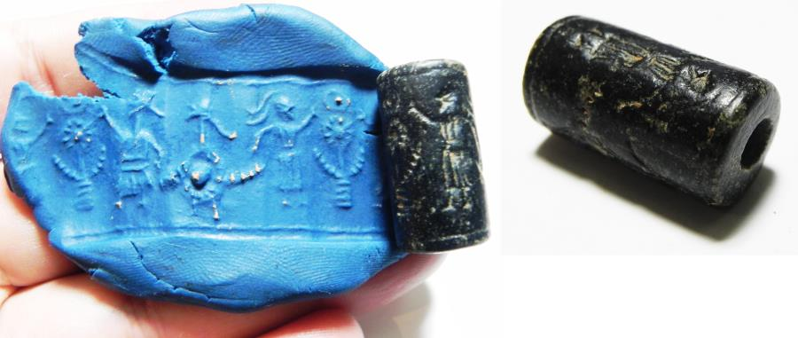 Ancient Coins - ANCIENT NEAR EASTERN STONE CYLINDER SEAL. 1400 - 1200 B.C