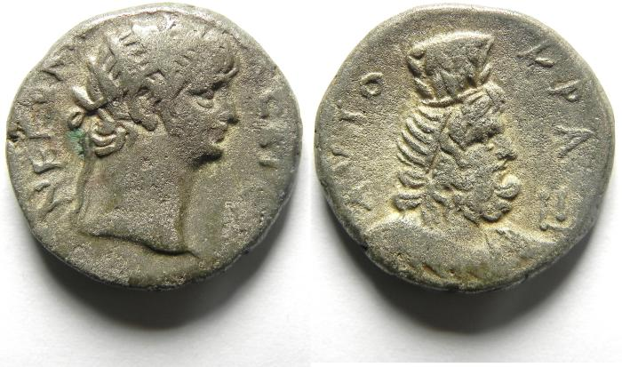 Ancient Coins -  EGYPT , ALEXANDRIA , NERO AR TETRADRACHM , SARAPIS BUST , YEAR10