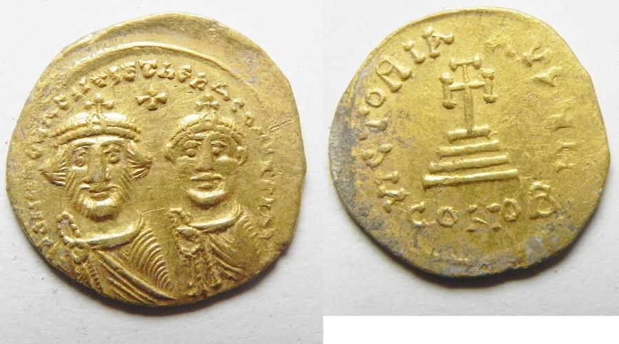 Ancient Coins - BYZANTINE. Heraclius (AD 610-641). AV solidus (20mm, 4.43g). Constantinople mint. Struck c.616-625.
