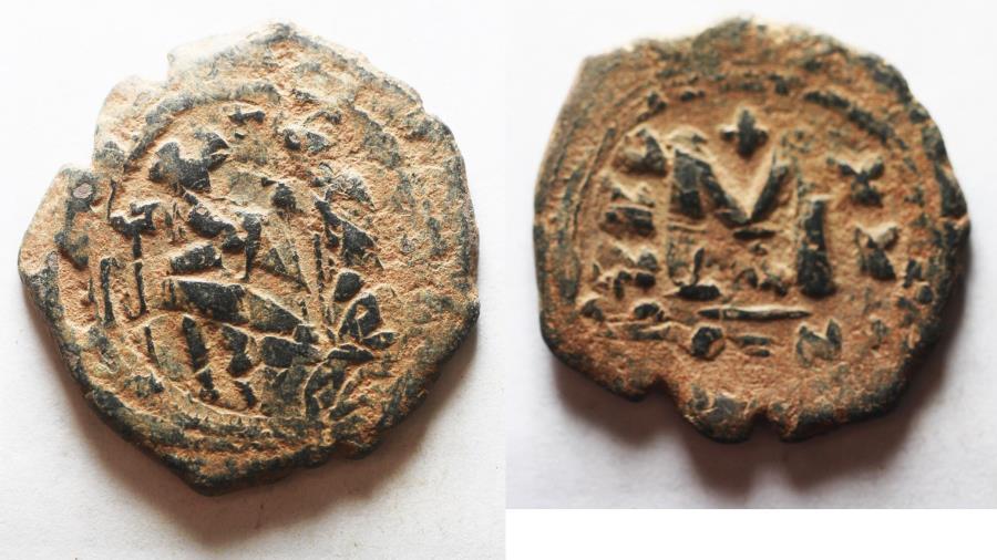 Ancient Coins - ORIGINAL DESERT PATINA: BYZANTINE. BEAUTIFUL CONSTANS II AE FOLLIS