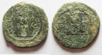 Ancient Coins - BYZANTINE. JUSTIN II & SOPHIA AE FOLLIS. ANTIOCH
