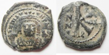 Ancient Coins - BYZANTINE. MAURICE TIBERIUS AE 1/2 FOLLIS. COUNTERMARK ON REVERSE