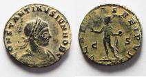 Ancient Coins - CONSTANTINE II AE FOLLIS. BEAUTIFUL COIN
