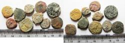 Ancient Coins - JUDAEA. LOT OF 10 BRONZE PRUTAH COINS. NEEDS CLEANING