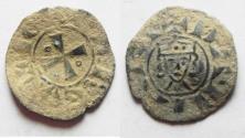 World Coins - NICE QUALITY. AS FOUND: CRUSADERS, Latin Kingdom of Jerusalem. John of Brienne. 1210-1225. BI Denier