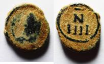 Ancient Coins - Vandals. Anonymous AE 4 nummi (11mm, 1.16g). Carthage mint, c. AD 480-533.