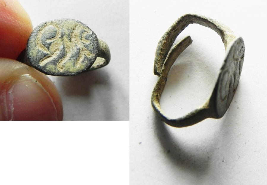 Ancient Coins - ANCIENT HOLY LAND. ROMAN BRONZE RING WITH A LION. 200 A.D
