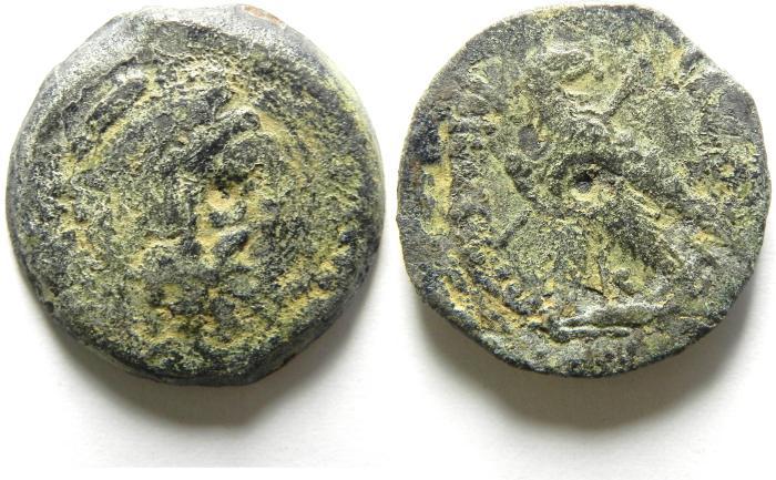 "Ancient Coins - PTOLEMY VI ""PHILOMETOR"" - 180 - 145 B.C  , Æ23 , BEARDED HERAKLES"
