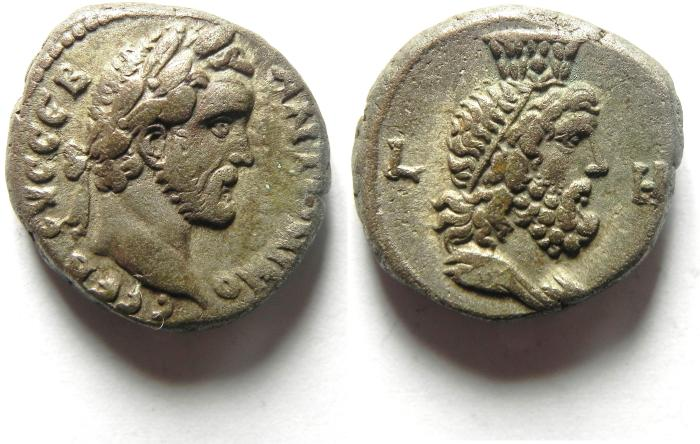 Ancient Coins - Egypt, Alexandria, Antoninus Pius , AD 138-161 , Billon Tetradrachm, YEAR 8 , BUST OF SARAPIS, CHOICE EF CONDITION