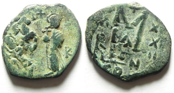 Ancient Coins - BYZANTINE : HERACLIUS FOLLIS , NICE GREEN PATINA