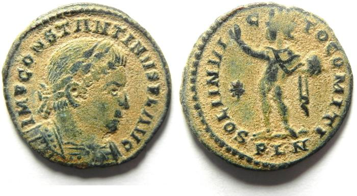 Ancient Coins - CHOICE CONSTANTINE I AE FOLLIS , LONDON MINT AS FOUND