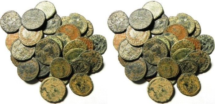 Ancient Coins - LOT OF 28 ROMAN BRONZE COINS, AS FOUND
