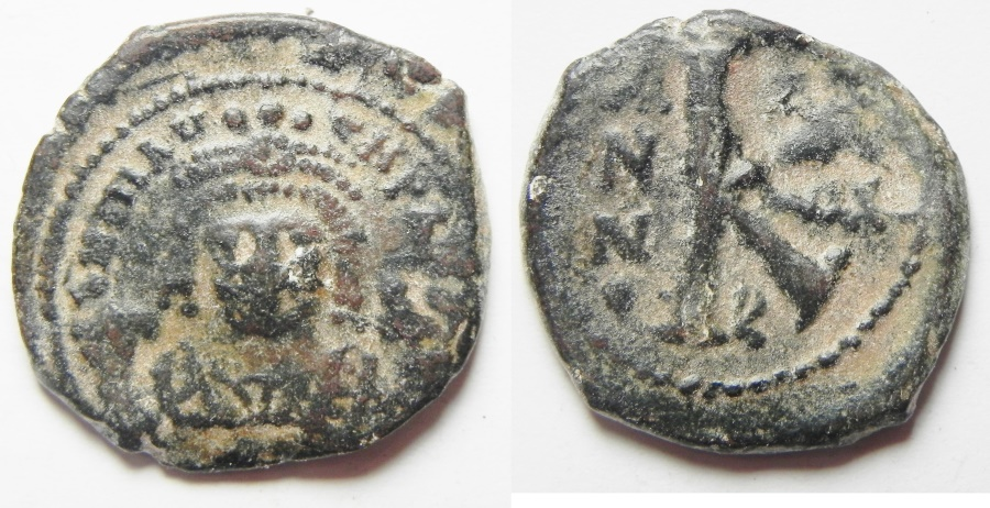Ancient Coins - BYZANTINE. MAURICE TIBERIUS AE 1/2 FOLLIS. COUNTERMARK ON REVERSE