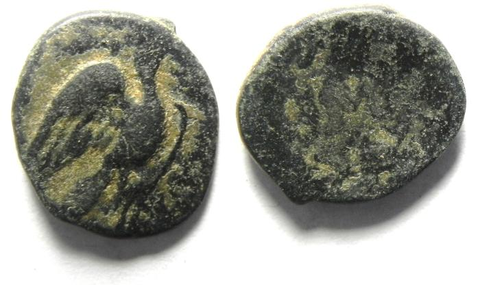 Ancient Coins - GREEK AE 14 , STRUCK ON ONE SIDE?
