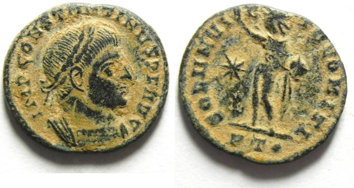 Ancient Coins - CONSTANTINE I AE FOLLIS , NICE AS FOUND - DESERT PATINA