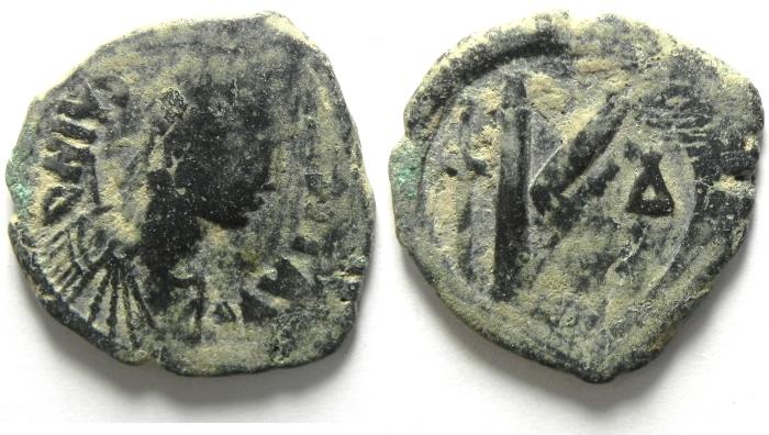 Ancient Coins - JUSTIN I AE HALF FOLLIS