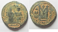 Ancient Coins - ISLAMIC. Umayyad Caliphate. Arab-Byzantine series. AE fals (28mm, 11.33g). Gerasa (Jerash) mint. Struck c. AH 41-77 / AD 661-697.