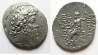 Ancient Coins - GREEK. Seleukid kings. Demetrios II Nikator (second reign, 129-126/5 BC). AR tetradrachm (31mm, 16.01g). Damascus mint. Struck in SE 186 (127/6 BC).