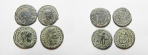 Ancient Coins - LOT OF 4 ROMAN AE FOLLIS COINS