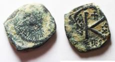 Ancient Coins - MAURICE TIBERIUS AE HALF FOLLIS