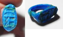 Ancient Coins - 18th DYNASTY ANCIENT FAIENCE RING VERY NICE COLOR,  14TH CENT. B.C