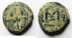 Ancient Coins - ISLAMIC, Umayyad Caliphate. temp. 'Abd al-Malik ibn Marwan. AH 65-86 / AD 685-705. Æ Fals. AMMAN MINT. VERY RARE