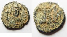 Ancient Coins - BYZANTINE EMPIRE. TIBERIUS II CONSTANTINE BRONZE HALF FOLLIS
