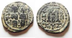 Ancient Coins - ORIGINAL DESERT PATINA: BYZANTINE EMPIRE. JUSTIN II & SOPHIA BRONZE FOLLIS
