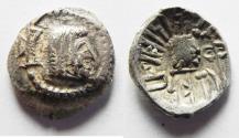 """Ancient Coins - monogram on cheek: ARABIA, Southern. Himyar. Ṯ""""RN Y ̔B. Late 2nd century AD(?). AR Unit . RYDN (Raidan?) mint."""