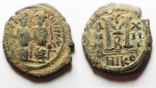 Ancient Coins - BYZANTINE. JUSTIN II & SOPHIA AE FOLLIS. DESERT PATINA