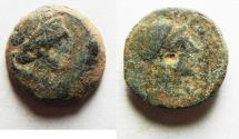 Ancient Coins - AS FOUND: PTOLEMAIC EMPIRE. CYRENE , PTOLEMY V AE16 , WITH LIBYA ON REVERSE