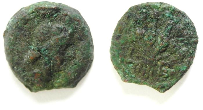 Ancient Coins - EGYPT , ALEXANDRIA , LIVIA UNDER TIBERIUS (17-20 A.D) , AE DICHALKON, AS FOUND, NICE QUALITY , YEAR 5