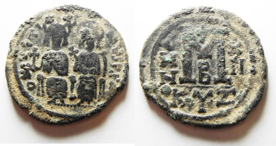 Ancient Coins - ORIGINAL DESERT PATINA: BYZANTINE EMPIRE. JUSTIN II & SOPHIA BRONZE FOLLIS