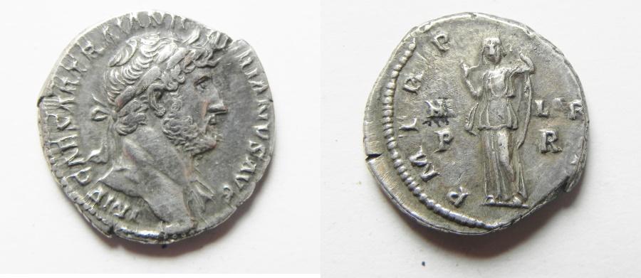 Ancient Coins - ROMAN IMPERIAL. Hadrian (AD 117-138). AR denarius (17mm, 2.87g). Rome mint