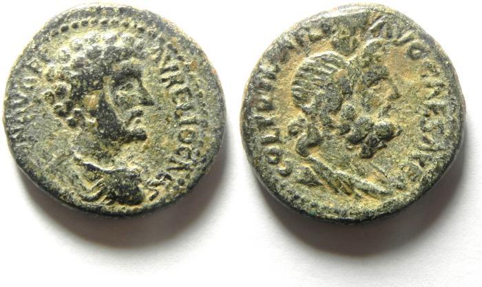 Ancient Coins - Roman Provincial. AE 25 ,  Samaria. Caesarea Maritima. Under Marcus Aruelius , as Caesar (AD 139-161). CHOICE QUALITY!!!!!