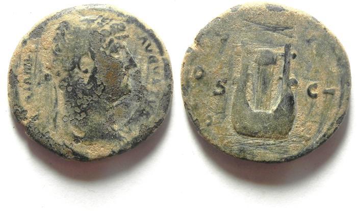 Ancient Coins - ROMAN IMPERIAL. Hadrian. AD 117-138. AE semis, LYRE, AS FOUND