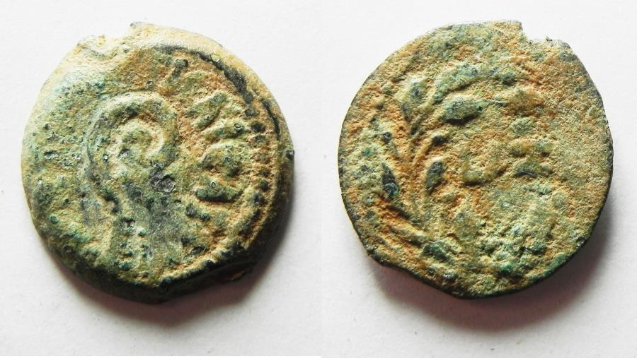 Ancient Coins - JUDAEA, BEAUTIFUL PRUTAH OF PONTIUS PILATE.